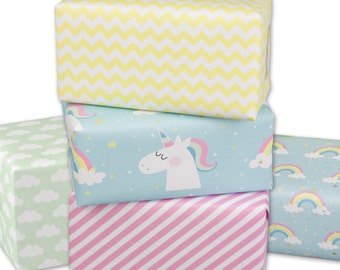 Unicorn gift paper 5 sheets in great designs of 50 x 70 cm rolled top quality made in Germany