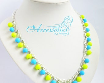 Yellow and Blue Necklace Bib Necklace Yellow Statement Necklace Beaded Jewelry for women With Ukraine in the heart
