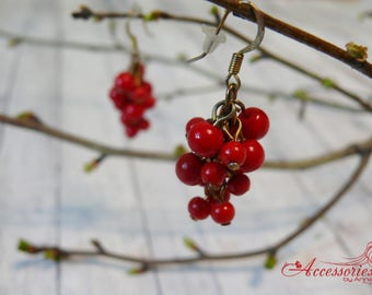 Women earrings Red earrings  Spring Cluster jewelry Berry earrings Gift Idea Her jewelry Boho earrings Red jewelry Red cluster earrings