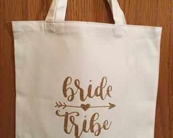 Bridesmaid tote bag, bride tribe, bridal party, canvas tote bag, bridesmaid gift bag, wedding day, customized, personalized, custom made