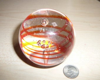 Vintage Paperweight Swirls and Bubbles 2 1/2 inches No Damage