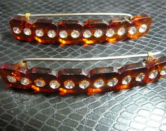 1940's Stunning in any decade Pair Faux Tortoiseshell Rhinestone Brass Pinch Clips Reverse Faceted Barrettes Hair Accessories