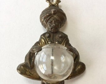 Vintage Pot Metal Fortune Teller Pin with Crystal Ball