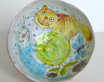 Hand crafted and hand painted decorative ceramic bowl