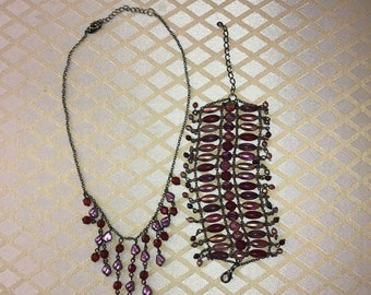Middle eastern beaded necklace and bracelet set