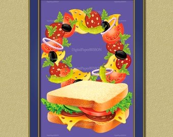 Kitchen Decor, Kitchen Wall Art, Sandwich Print, home decor, housewarming gift, kitchen wall decor, food poster, food art, art digital print