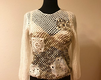 Hand knitted Sweater with Flower Pattern