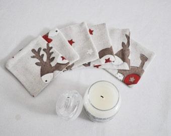 Ent coasters deer Christmas fabrics (set of 6)