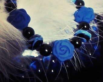Flower beaded bracelet, blue beaded bracelet, Boho bracelet, beaded bracelet