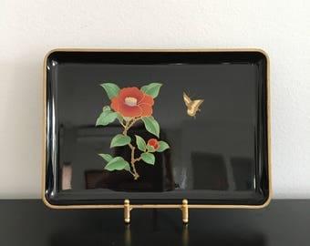 Vintage Otagiri Lacquer Plates, Set Of Three,Black Plates,Sushi Plates,Japanese Trays,Rectangle Plates,Camellia,Calla Lily,Bird Of Paradise