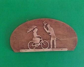 Wooden wall key holder