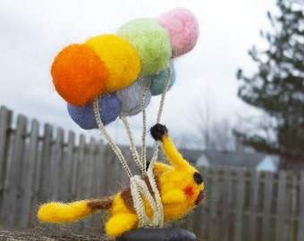 Needle Felted Flying Pikachu
