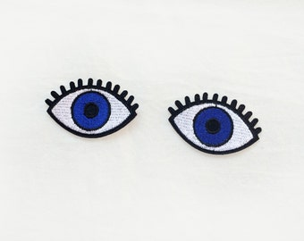 2x blue EYES Patch open eye lashes custom your jacket, clothes, hat, bag with an Iron On Embroidered Applique
