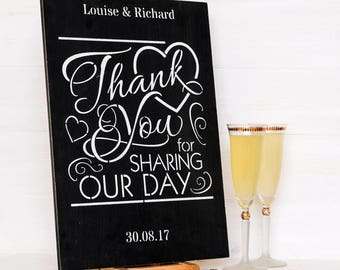 Thank You for Sharing Our Day Personalised Wedding Sign