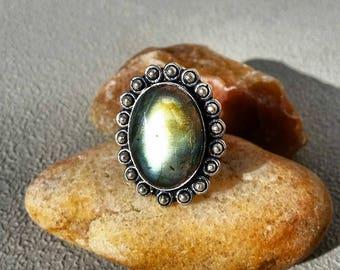 Labradorite Ring 7 1/2 Sterling Silver Blue Natural Gemstone Rings