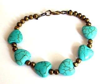 Boho chic bracelet hearts turquoise beads and bronze details relaxing insomnia spiritual ambition patience power bracelet
