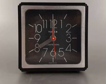Timex Alarm Clock Black Vintage 90s 80s Dial