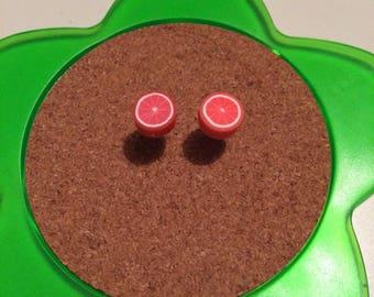 Handmade pink grapefruit stud earrings