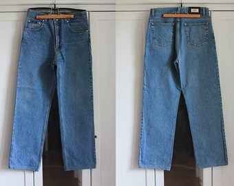 HUGO BOSS Denim Jeans Vintage High Waisted Trousers Classic Medium Blue Color Men Clothing High Fashion 1980s Clothing / W33 / Large size