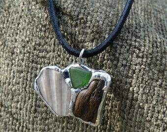 Fossilized Bone, Sea Shell, and Sea Glass Charm Necklace