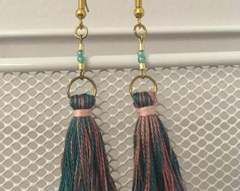 Chasing dreams - Pink and Green Tassel Earrings
