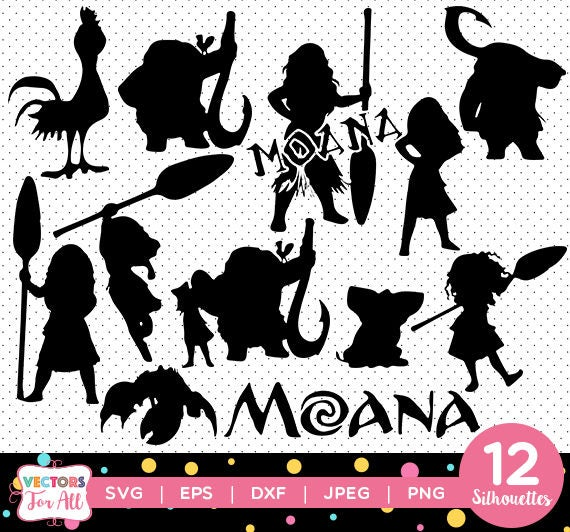 Moana Wall Decals Canada: Princess Moana Silhouettes Pack