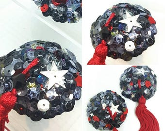Industrial Disco Frenzy - Grey and Red Burlesque Round Nipple Tassels
