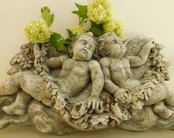 "Large cherub wall plaque  Plaster cherubs  22 1/2"" plaque  Cherub pediment  Hand painted cherubs  Distressed cherub plaque"