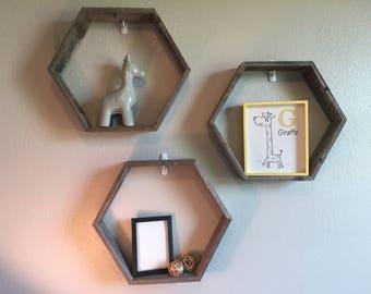 Hexagon Reclaimed Wood Shelves