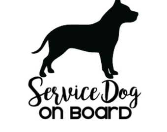 Service Dog on Board | Pitbull | American Stafforshire | 4in Vinyl Decal | ICE Sticker | In Case of Emergency