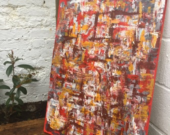 Hidden Messages - Large Abstract Acrylic Red Painting
