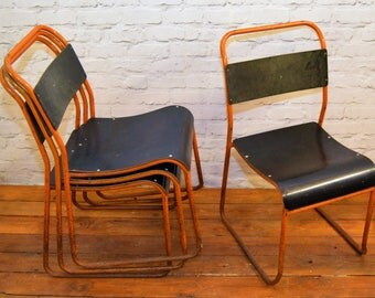 SOLD 12 available vintage stacking chairs antique industrial retro cafe interior design restaurant bakelite tubular metal kitchen