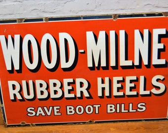 Wood-milne boot shoe enamel sign early advertising mancave garage metal vintage retro kitchen antique