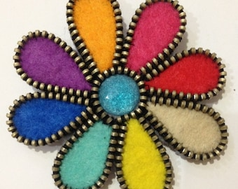 Multi-colored Petals of a Flower Brooch Handmade Felt Women Brooch Felt Jewelry