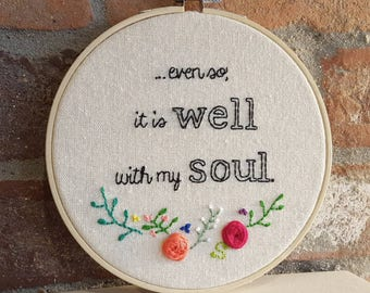 It is Well With My Soul Christian Hymn Embroidered Wall Hanging