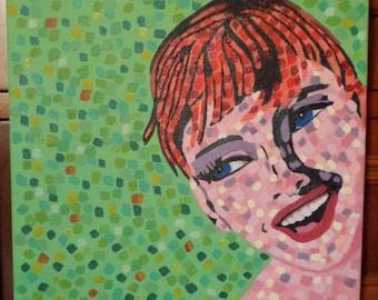 POP ART GIRL acrylic pop art painting on canvas panel red hair smile