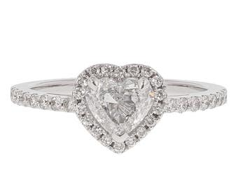 1.23 Carat Heart-Shaped (D) Colour Natural Diamond Engagement Ring