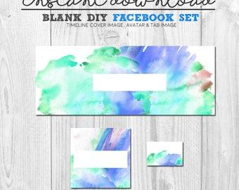 watercolour facebook timeline image set, blank diy premade facebook page cover, pre-made facebook banner set, diy facebook design, diy fb