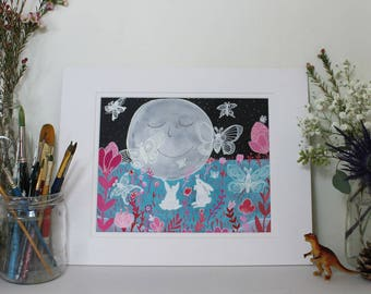 Original Illustration Gouache Painting Moon Rabbits & Moon Moths