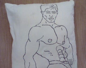 Male figure #2 painted in glittered heliotrope on cotton pillow