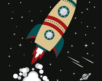 Blast Off! Rocket Explorer Fine Art Print