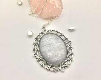 Hand painted metallic silver streaked oval glass cabochon pendant silver necklace