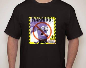 Adult and Kid's Evil Minion Warning Black T-Shirt