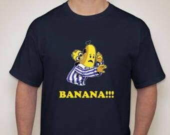 Adult Minion Eating Banana in Pajamas Blue T-Shirt