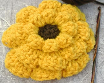 Large Crochet Flower Yellow with Brown Center