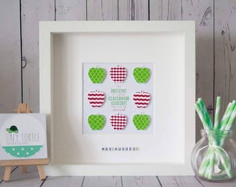 Classroom assistant thankyou frame, End of year gift, Apple frame, Personalised gift, Wooden box frame, Red and green