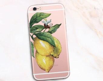 Lemon iPhone case, Clear Lemon phone Case, Fruit iPhone case, Lemon iPhone 6 Case Lemon pattern Lemonade Case iPhone 7 20