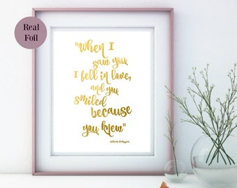 Foil Art Print, A4 Foil Quote print, love quote foil wall art, foil Nursery print, Foil Art Print, foil print, gold foil, made in Australia