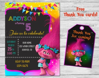 Trolls birthday invitation + Thank You, Trolls invitation, Trolls party invitation, Troll invites, Trolls birthday party, Trolls Poppy party