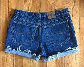 Vintage High Rise Dark Wash Denim Cut off Shorts by Lee Jeans
